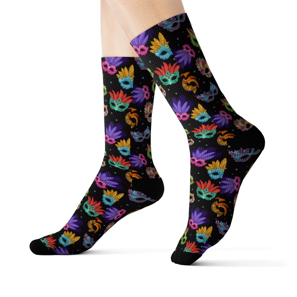 Mardi Gras Socks, 3D Sublimation Masquerade Venice Carnival Masks Festival Harlequin Colorful Party Women Men Cool Funky Crazy Socks - Starcove Design