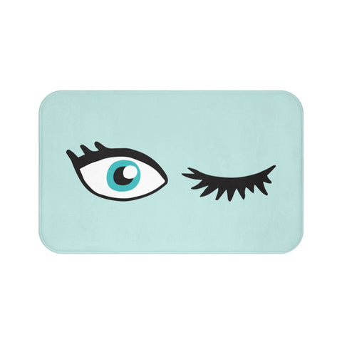Funny Bath Mat, Winking One Eye Open, Cute Aqua Green Shower Non Slip Quick Dry Small Large Memory Foam Microfiber Bathroom Rug - Starcove Design