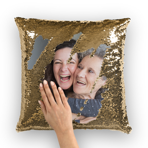 Family Photo Sequin Cushion Pillow Cover, Mother Daughter Custom Image Mermaid Case Mothers Day Birthday Decorative pillow gift - Starcove Design