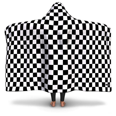 Black White Checkered Hooded Blanket, Check Racing Flag Fleece Microfiber Fluffy Sherpa Adult Youth Men Woman Wearable Cloak Winter Gift - Starcove Design
