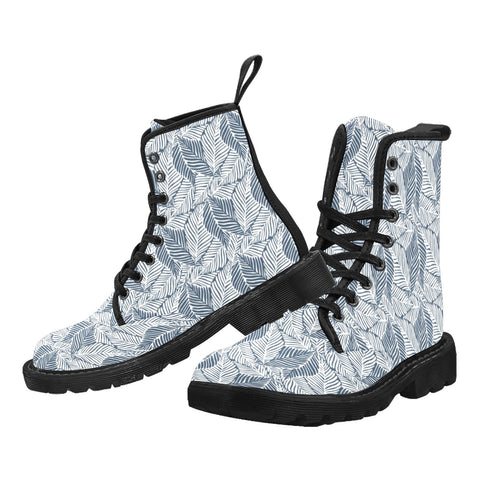 Tropical Leaves Men Boots, Monochrome Print Design Pattern Vegan Canvas Festival Party Lace Up Shoes Fashion Print Combat Casual Custom Gift