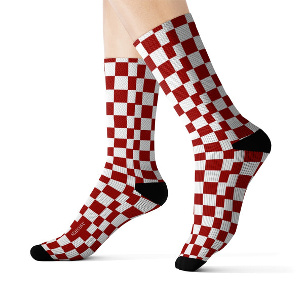 Red White Checkered Socks, 3D Printed Sublimation Check Pattern Racing Flag Women Men Fun Cool Funky Casual Cute Unique Socks - Starcove Design