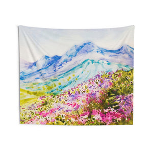 Watercolor Mountain Tapestry, Spring Flowers Landscape Indoor Wall Art Hanging Tapestries Large Small Decor Home Dorm Room Gift - Starcove Design