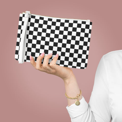 Black White Checkered Clutch Bag Purse,  Check Vegan Leather with Pocket Zipper Evening Modern Wrist Phone Wallet for Women