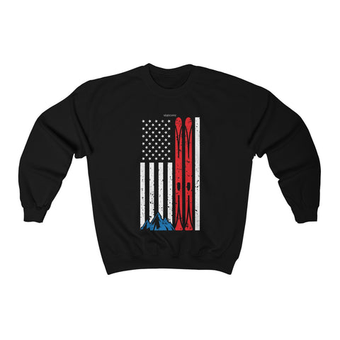 USA Ski Sweatshirt, American Flag Skiing Skier Distressed Retro Vintage Men Women Winter Sports Mountain Gift Crewneck Sweater Top - Starcove Design