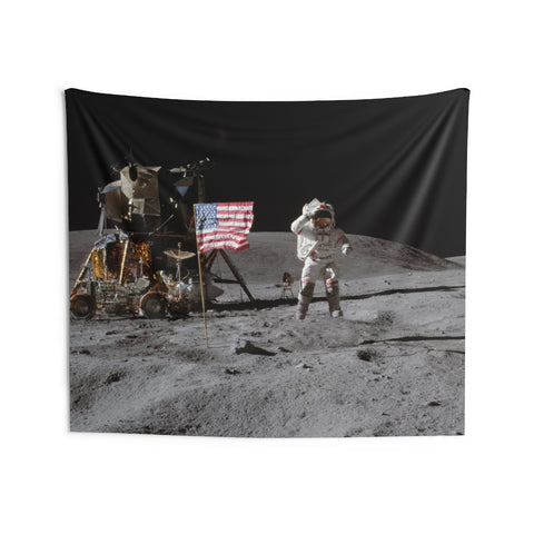 Moon Landing Tapestry, Astronaut On Lunar Surface USA Flag, Indoor Wall Tapestries Art Hanging Decor Home Dorm Room Gift - Starcove Design