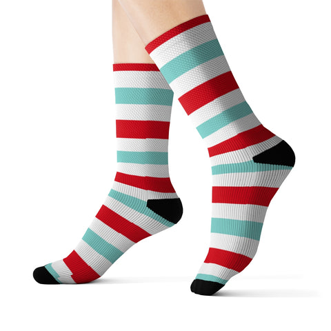 Candy Cane Socks, Aqua Blue Red White Horizontal Stripes Christmas 3D Printed Sublimation Women Men Fun Cool Funky Casual Unique - Starcove Design