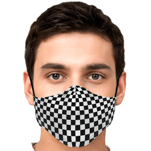 Black White Check Face Mask With Filter, Checkered Gingham Racing Cotton Fabric Cloth Mouth Shield Fashion Half Washable Adult Kids - Starcove Design