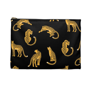 Leopard Print Zipper Pouch, Black Gold Animal, Cute Makeup Bags, Fun Cosmetic Pouch Organizer, Gifts for women, Accessory Pouch Purse - Starcove Design