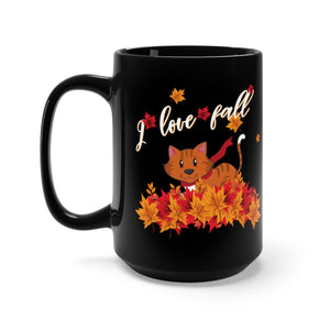 Fall Cat Black Mug 15oz, Kitty Cat Playing with Fall Leaves, I Love Fall Season Leaf Autumn Graphic Fun Cute Kitten Lover Tee Gift - Starcove Design
