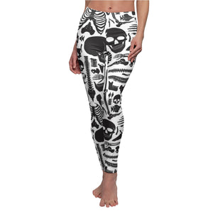 Skeleton Halloween Leggings, Black White Skull Human Bones Anatomy Goth Yoga Pants, Women's Casual Skinny Leggings - Starcove Design