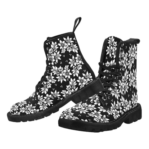 Black White Flower Men Boots, Print Design Pattern Vegan Canvas Festival Party Lace Up Shoes Fashion Print Combat Casual Custom Gift