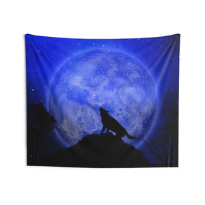 Wolf Moon Tapestry, Blue Animal Boho Night Howling Spiritual Gothic Landscape Indoor Wall Art Hanging Tapestries Décor Home Dorm Gift - Starcove Design