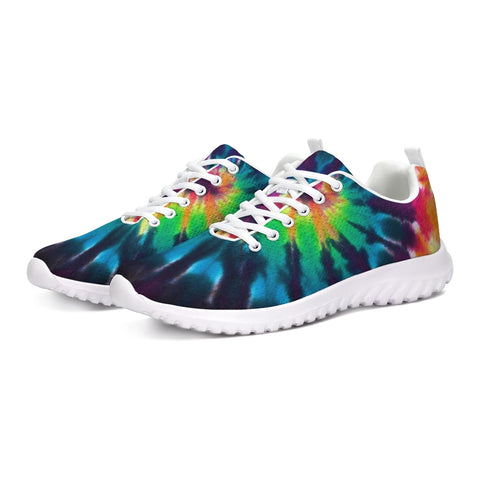Tie dye Sneaker, Lace Up Athletic Shoe Tennis Sports Spiral Festival Party EDM Custom Canvas Women Men Colorful Shoes - Starcove Design