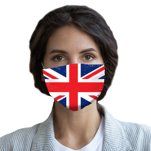 UK Union Jack Distressed Flag Face Mask With Filter, United Kingdom Fabric Cloth Mouth Cover Fashion Washable Reusable Adult Men Women Kids - Starcove Design