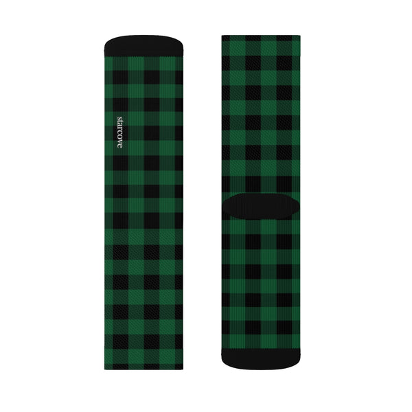 Buffalo Plaid Socks, 3D Printed Sublimation Green black Check Lumberjack Women Men Fun Cool Funky Casual Cute Unique Socks - Starcove Design