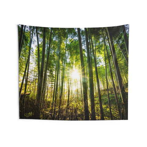 Forest Sun Tapestry, Green Tree Natural Bamboo Landscape Indoor Wall Art Hanging Tapestries Decor Home Gift - Starcove Design