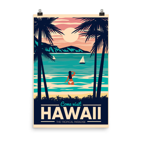 Hawaii Retro Vintage Poster, Hawaiian Palm Tree Wall Art Vertical Travel Artwork Island Decor Print