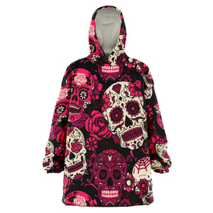 Sugar Skull Snug Blanket Hoodie, Calavera Pink Wearable Sleeved Hooded Purple Print Warm Winter Camping Fleece Adult Men Women Large Throw