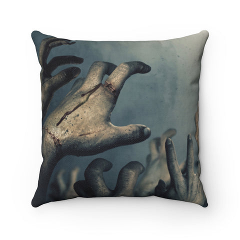 Zombie Throw Pillow with Insert, Halloween Hands Undead Spooky Gifts Cushion Creepy Decor Square Decorative Filled Pillow