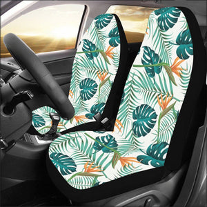 Tropical Car Seat Covers 2 pc, Floral Pretty Leaves Green Front Seat Covers, Car SUV Vans Seat Protector Accessory