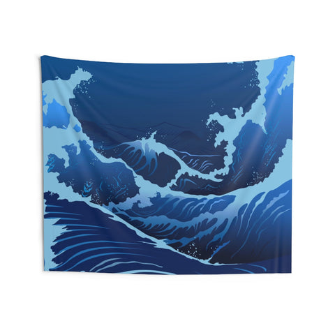 Blue Japanese Wave Tapestry, Nautical Home Decor Stormy Sea Great Waves Wall Dorm Ocean Art Coastal Surf Indoor Hanging Tapestries - Starcove Design
