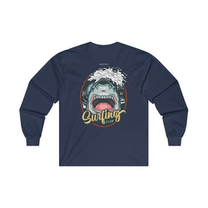 Surfing Club Cotton Long Sleeve Tee, Surfer Shark Beach Print on Back Men Women Aesthetic Crewneck Tshirt