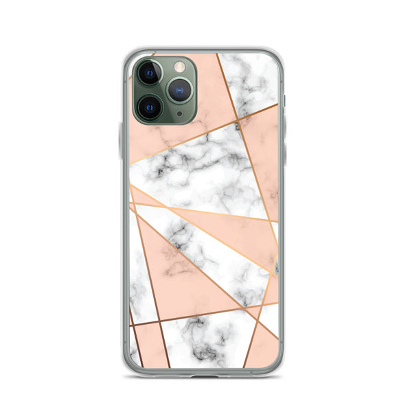 Rose Gold Marble Phone 12 Pro Max Case, White Marble Rose Pink Geometric Cute Case Gift iPhone 11 Mini SE 2020 XS Max XR X 8 7 - Starcove Fashion