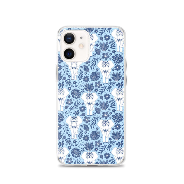 Elephant iPhone 12 Pro Max Case, Blue Flowers Tropical Print Cute Gift Aesthetic iPhone 11 Mini SE 2020 XS Max XR X 7 Plus 8 Cell Phone