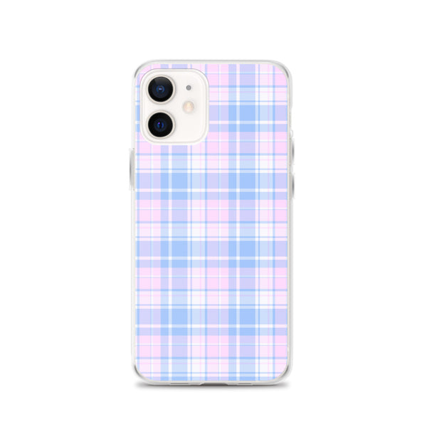Pastel Plaid iPhone 12 Pro Max Case, Pink Blue Tartan Print Cute Gift Aesthetic iPhone 11 Mini SE 2020 XS Max XR X 7 Plus 8 Cell Phone