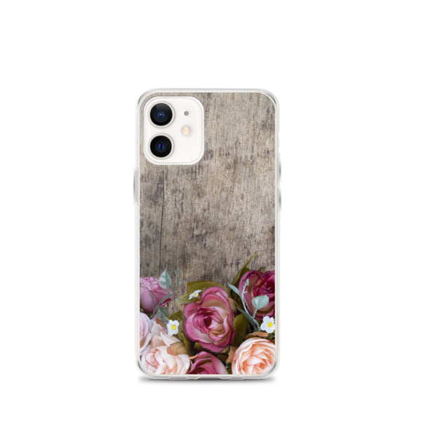 Roses on Wood iPhone 12 Pro Max Case, Cute Wooden Pink Red Flowers Print Gift, Aesthetic iPhone 11 Mini SE 2020 XS Max XR X 7 Plus 8 Cell Phone