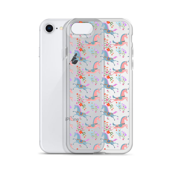 Horse Flowers iPhone 12 Pro Max Clear Case, Pastel Equestrian Print Cute Gift Aesthetic iPhone 11 Mini SE 2020 XS Max XR X 7 Plus 8 Cell Phone