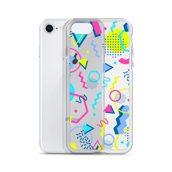 80s Geometric Colorful iPhone 12 Pro Max Clear Case, Pop Print Cute Gift, Aesthetic iPhone 11 Mini SE 2020 XS Max XR X 7 Plus 8 Cell Phone