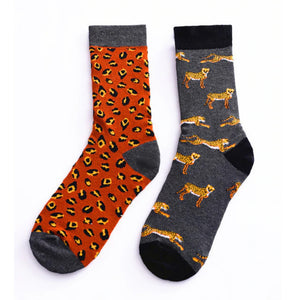 Leopard Mismatched Socks, Matching Animal Print Cheetah, Brown Grey Designer, Crew Cotton, Cool, Cute Crazy & Fun socks
