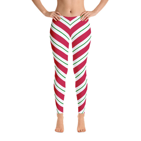 Candy Cane Leggings, Red Green Christmas Graphic Printed Striped Winter Yoga Wear Clothing Women's Activewear Style Holiday Xmas Gift - Starcove Design
