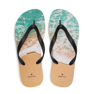 Beach Flip Flops for Women Men, Comfortable Shower Flip Flops with Ocean Photo Colorful Design, Best Cute Designer - Starcove Design