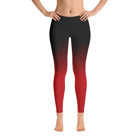 Black and Red Ombre Yoga Leggings, Womens Workout tie dye leggings, Printed Red Black sexy leggings