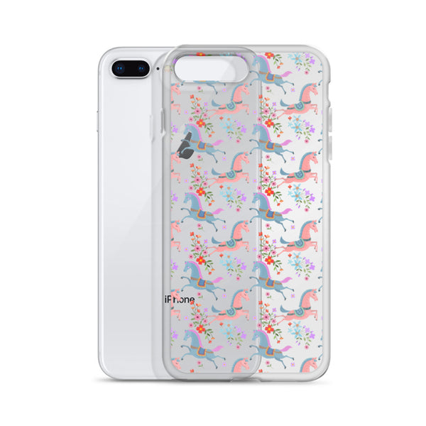 Horse Flowers iPhone 11 Pro Max Clear Case, Pastel Equestrian Print Cute Gift Aesthetic iphone XS Max XR X 7 Plus 8 8F 6s 6 Plus 5 5s 5e Cell Phone - Starcove Design