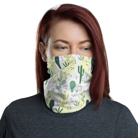 Cactus Face Mask Neck gaiter, Succulent Print White Fabric Shield Mouth Cover Fashion Half Headband Washable Scarf Bandanna - Starcove Design