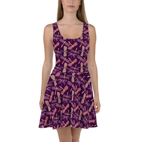 Purple Dragonfly Skater Dress, Summer Bug Insect Print Sleeveless Mini Cocktail Party Women Sexy Short Circle Festival Boho Dress - Starcove Design