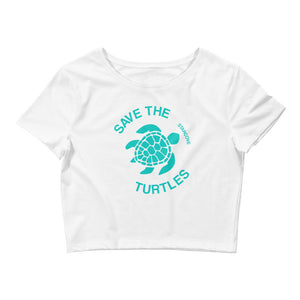 Save The Turtles Crop Top, Vsco Girl 90s Ocean Beach, Women's Cropped T-Shirt - Starcove Design