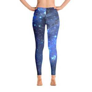 Galaxy Leggings, Yoga Space Print Pants, Cosmic Celestial Constellation Outer Space Star Royal Blue Workout Leggings - Starcove Design