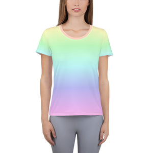 Pastel Rainbow Shirt, Tie Dye Tshirt, Neon Gradient shirt, Colorful Shirt, Women's Athletic T-shirt - Starcove Design