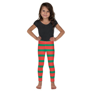 Elf Red Green Striped Kids Girls Leggings (2T-7), Christmas Party Santa Xmas Holiday Costume Printed Graphic Yoga Pants Cute Workout - Starcove Design