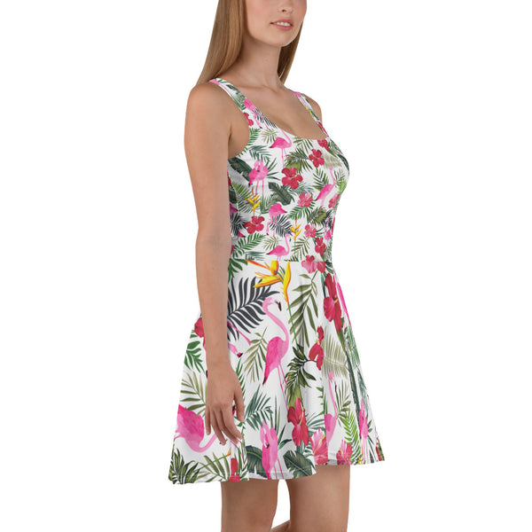 Flamingo Tropical Dress, Pink Rose Flowers, Summer Flamingo Party Dress, Green Palm Leaf Plant Circle Skater Dress - Starcove Fashion