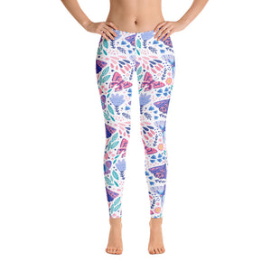 Butterfly Leggings, Floral Flowers White Printed Yoga Pants Cute Print Graphic Workout Running Gym Fun Designer Tights Gift Her Activewear