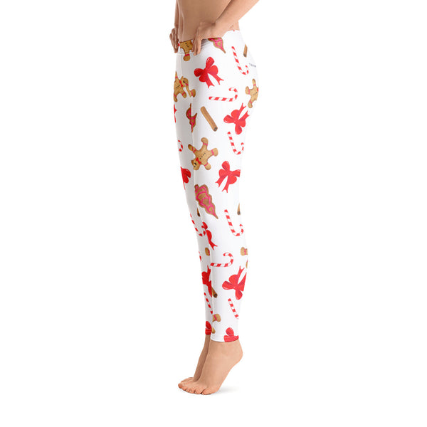 Gingerbread Sugar Cane Leggings, Red Christmas Graphic Printed Winter Yoga Wear Clothing Women's Activewear Style Holiday Xmas Gift - Starcove Design