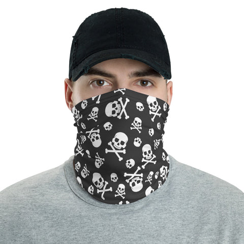 Skull Face Mask Neck Gaiter, Bones Skeleton Fabric Shield Fashion Biker Half Headband Scarf Wristband Bandanna - Starcove Design