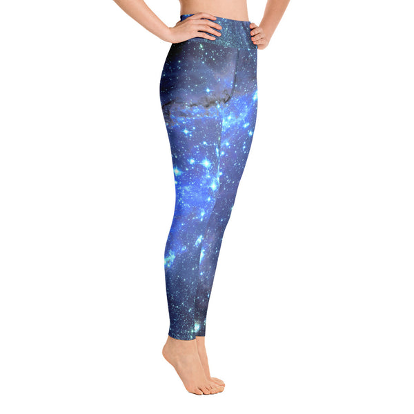 Galaxy Leggings, Yoga Space Print Pants, Blue Cosmic Celestial Constellation Outer Star Royal High Rise Waisted Workout Leggings - Starcove Design