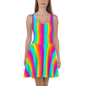 Rainbow Stripe Fit and Flare Skater Dress, Colorful Pride Festival Party Fun Mini Stretchy Vertical Striped Circle Dress - Starcove Design
